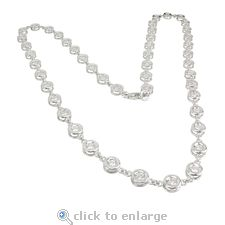 The Ziamond cubic zirconia Rialto Necklace features bezel set .25 carat each round cz in 14k white gold.  $1995 #ziamond #cubiczirconia #cz #necklace #14kwhitegold