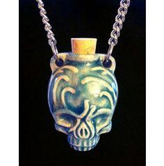 Ceramic Calavera Skull Bottle Necklace