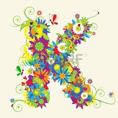 Illustration of Letter K, floral design. See also letters in my gallery vector art, clipart and stock vectors. Letter K Design, Free Art Prints, Small Art, Fairy Art, Letter Art, Floral Design, Graphic Design, Illustration Art, Artsy