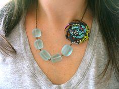 Aqua statement necklace wedding fabric by HappyLittleLovelies, $26.00