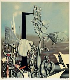 Yves Tanguy Feu A Eclat 1953 by 434 mm) Offset lithograph printed in colors. Surrealism Painting, Painting Collage, Yves Tanguy, Arches Paper, Japanese Prints, Fantastic Art, Art Boards, Les Oeuvres, Modern Art