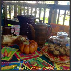 #Cottage Green on the Lake ... #lake #deck #cottage #afternoon tea #autumn #fall