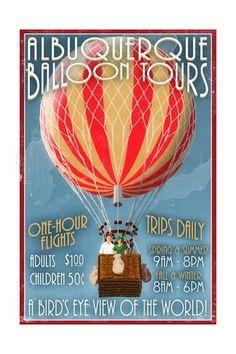 Albuquerque, New Mexico - Hot Air Balloon Tours - Vintage Sign Art Print