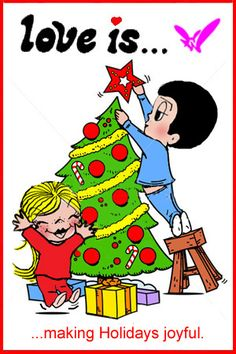 love is.. decorating Christmas tree together