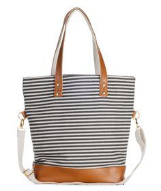 Gray Stripe Denim Tote Bag- The Mod – White Elm Boutique -