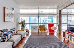 sala de estar integrada no Edifício Copan, em São Paulo