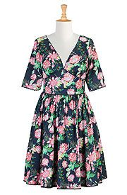 Lace trimmed floral print cotton dress