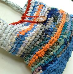 Ocean sunset gorgeous upcycled rag crochet  by MammaEarthCreations