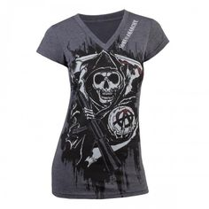 Show them your tough exterior by wearing Sons of Anarchy clothing for women from the FX Shop. This slim-fit Reaper crew shirt for fashion-conscious biker babes is just the thing to set you apart. Biker Wear, Summer Outfits, Cute Outfits, Rocker Style, Pajama Shirt, Bike Style, Sons Of Anarchy, Crew Shirt, T Shirts For Women