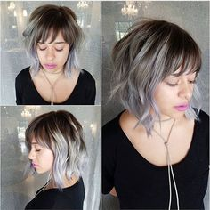 Fabulous Choppy Bob Hairstyles Gray Balayage Bob this makes me want bangs again >_<Gray Balayage Bob this makes me want bangs again >_< Choppy Bob With Bangs, Choppy Bob Hairstyles, Short Hair With Bangs, Haircuts With Bangs, Trendy Hairstyles, Short Hair Cuts, Ombre Bob With Bangs, Wispy Bangs, Bob Bangs