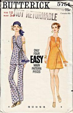 1960s Mini Wrap Dress Tunic and Pants Pattern by ShellMakeYouFlip, $14.50