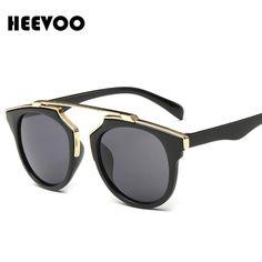 HEEVOO 2016 High quality women brand designer sunglasses round mirrored shades cat eye glasses