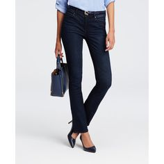 Ann Taylor Petite Modern Slim Denim Jeans ($89) ❤ liked on Polyvore featuring jeans, slate blue wash, slim cut jeans, ann taylor, slim stretch jeans, petite jeans and stretch jeans