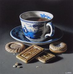 Lucy Crick still life paintings: tea and malted milk biscuits (sold) Oil on board by Lucy Crick Malted Milk Biscuits, Tea Cup Art, Still Life Oil Painting, Candy Cakes, Painted Cups, Coffee Poster, Coffee Dessert, Still Life Art, Art For Art Sake