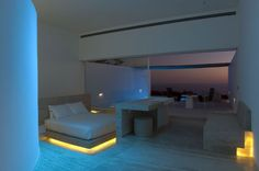 Hotel room. Modern. Neon