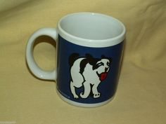 RUN WITH THE BIG DOGS COFFEE MUG TEA CUP WHITE BLUE LOGO EMBLEM SAINT BERNARD