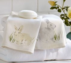 Watercolor Bunny Guest Towels