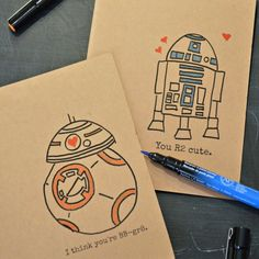Show your love for your sweetie and for Star Wars with these free hand-drawn printable valentines!