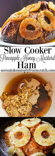 Slow Cooker Pineapple Honey Mustard Ham saves oven space during the holidays by using the Crock-Pot and is easy to make! serenabakessimplyfromscratch.com