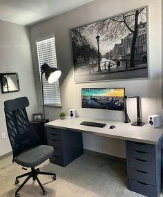 - 30 Best Home Office Designs for Your Inspiration [Cool, Classic, a. 30 be .- 30 Best Home Office Designs for Your Inspiration [Cool, Home Office Setup, Home Office Space, Home Office Design, Office Desk, Office Chairs, Bedroom Setup, Room Ideas Bedroom, Gaming Room Setup, Desk Setup