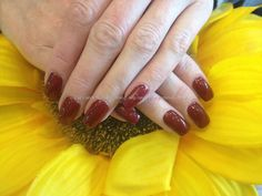 Acrylic nails with black cherry berry gel polish