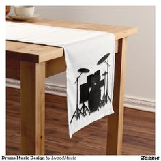 Drums Music Design Short Table Runner  25% OFF ALL ORDERS     Memorial Day Savings  #leatherwooddesign #zazzle #FULLguarantee #moneyback