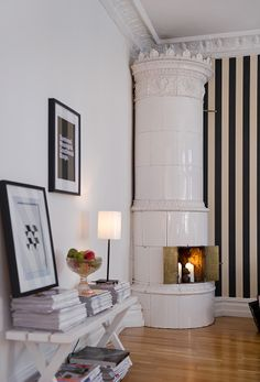 Industrial Chic! :-)?? love this fire place.