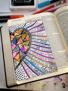 "A ""tipped-in,"" edge-connected, flip-out page found in the Journaling Bible Community"