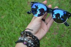 Óculos espelhado azul RayBan