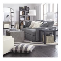 #grey and ivory in the living room