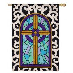 """Cross with Scroll Border"" Burlap Seasonal Banner; Polyester 28""x44"" - #happyeaster #easterbunny #easter #bunny #flagsaflying"