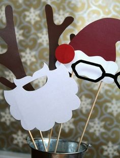 DIY Holiday Photo Booth Props...these are hilarious and would be so much fun to use at parties!  There are loads of great holiday party ideas on this blog.