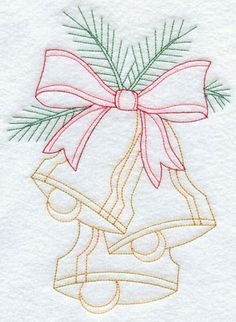 Christmas bells and bow Redwork machine embroidery design.