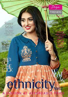 31201dbc91 Diya Trendz Ethnicity Vol 2 Fancy Designer Printed Loan Cotton Flair Long  Readymade Kurtis Collection at Wholesale Rate