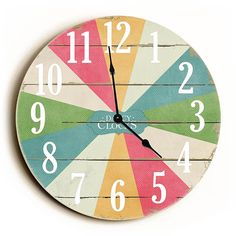 Multi Color Carnival Unique Wall Clock by Dickery Dock | eTriggerz - Wall Decor, Accents, Furniture and more! | www.etriggerz.com | Santa Ana, California
