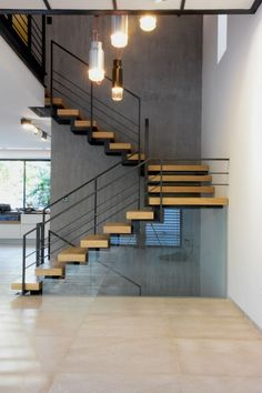 Staircase Contemporary, Modern Stairs, Home Stairs Design, Home Interior Design, House Design, Stair Handrail, Staircase Railings, Stairway Lighting, House Staircase