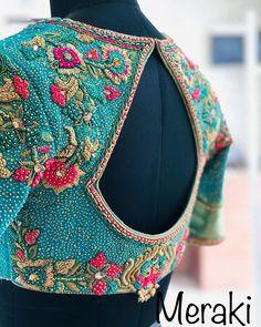 No photo description available. Saree Jacket Designs, Wedding Saree Blouse Designs, Pattu Saree Blouse Designs, Stylish Blouse Design, Fancy Blouse Designs, Blouse Neck Designs, Designer Blouse Patterns, Work Blouse, Blouse Desings