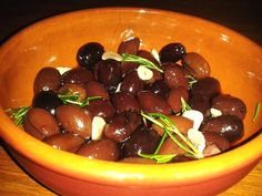 Recipe: Kalamata olives baked in red wine with rosemary and garlic