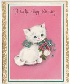 Vintage Kitten with Bouquet of Violets Birthday Greeting Card