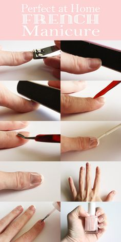 Perfect at home french manicure - by Jenny Bevlin  Great idea to use tape!