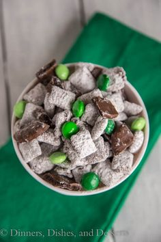 "<p>Chocolate and mint delight!<br />GET THE RECIPE >> <a href=""http://dinnersdishesanddesserts.com/grasshopper-muddy-buddies/"" target=""_blank"">Grasshopper Muddy Buddies</a></p>"