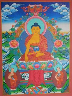 Shyakyamuni Buddha    Size: 45*60 cm    This Shakyamuni Buddha Thanka or Thanka convey much of the warmth and character of Siddhartha Gautama. Wonderfully painted on canvas with use of paint and pure 24 k gold by our master artisan.     Shakyamuni Buddha is believed to have had 550 incarnation. Shakyamuni Buddha was born on 563 B. C at Lumbini, western part of Nepal, son of king Suddhodana and queen Mayadevi. He died at the age of 80 at Kusinagara.