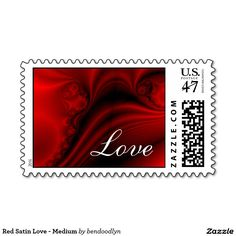 Red Satin Love - Medium Postage Stamp