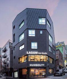 【성신여대 상가주택】상가와 주택의 필요조건을 모두 갖춘, 클라인하우제 | 1boon Minimalist Architecture, Contemporary Architecture, Architecture Design, Small Buildings, Hotels, Minimal Design, Building Design, Floor Plans, House Design