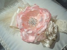 New Pink and Cream Couture Baby Flower Headband, Baby Headband, Photo Prop, Wedding, / Handmade Pink Silk Flower with Cream Accents