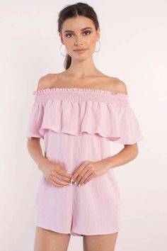 """Search """"Renna Pink Off Shoulder Romper"""" on Tobi.com! ruffled tiered ruched detail flowy playsuit frills #ShopTobi #fashion #summer #spring #vacation Basic outfit simple easy chic fashionable stylish style fashion vacation travel essential capsule wardrobe must have casual comfy comfortable trendy spring summer shop buy cheap inexpensive ideas for women teens cute edgy closet fall college outfit outfits"""