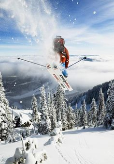Skier jumping at Red Mountain Resort, Rossland, Canada. Follow for follow, pin for pin!