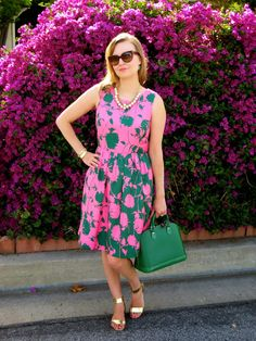 summer is coming! love this bold print fit and flare dress, bright leather dome satchel, metallic sandals.