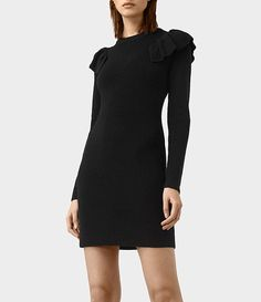 Women's Derley Knitted Dress (Black) - product_image_alt_text_2