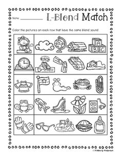No Prep Digraphs Coloring Picture Match Activity Sheets